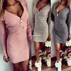 8-16 Ladies Women V Neck Bodycon Party Cocktail Evening Mini Dress Long Sweater