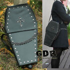 BLACK gothic Punk visual Rock litte coffin shape handbag / backpack
