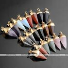 1pc Natural Gemstone Dowsing Divination Cone Taper Bead Pendant For Necklace DIY