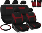 Car Seat Covers Red Black 17pc Set for Auto w/Steering Wheel/Belt Pad/Head Rests