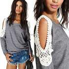 Fashion Womens Lace Long Sleeve T-shirt Casual Tops Blouse Shirt Pullover Tee