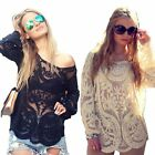 Semi Sheer Womens Long Sleeve Shirt Embroidery Lace Crochet T-shirt Tops Blouse