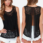 Fashion Women's Crochet Lace Bifurcation Cocktail Party Evening Chiffon Blouse