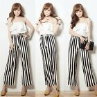 Strapless Flouncing Striped Womens Wide Leg Jumpsuits Overalls Trousers Pants