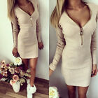 UK Sexy Women Autumn Winter Bodycon Cocktail Party Long Sleeve Mini Skirt Dress