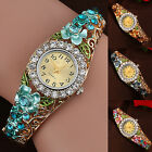 Fashion Women's Bracelet Watch Flower Band Hollow Out Bangle Crystal Quartz