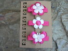 Handmade Baby/Toddler/Girl Hairclips - Set Of 3 In Hot Pink & White Bling