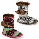 Womens Ladies Cosy Knitted Fairisle Slipper Boots Fleece Lining Pom Pom Shoes