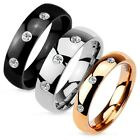 Stainless Steel 0.09 Carat CZ Wedding Band Ring Size 5-12 (Choose Color)