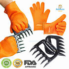 Barbecue Heat Resistant Silicone Gloves Oven Grill Bbq Cooking Mitts W/bear Claw
