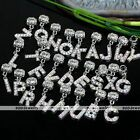 5x Alphabet Letters Crystal Dangle Pendant European Beads 4mm Hole Jewelry Diy