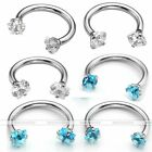 1pc 16G CZ Gem Steel Nose Lip Eyebrow Ear Nipple Horseshoe Ring Body Piercing