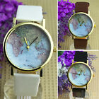 VINTAGE CHIC WORLD MAP MONTRE CUIR ALLIAGE FEMMES QUARTZ ANALOGIQUE