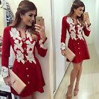 Sexy Women Short Mini Casual Dress Lace Party Evening Cocktail Long Sleeves Tops
