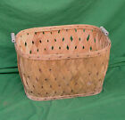 ca. 1939 Unfinished White Oak Strip Woven Laundry Basket  with Blue Handles