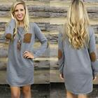 Sexy Womens Long Sleeve Shirt Tops Blouse Spring Winter Loose Casual Mini Dress