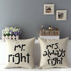 Newly Retro Pillowslip Cute Mr. Mrs. LOVE Cushion Cover Home Throw Pillow Case