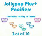 (10) JollyPop Pacifier Plus+ 3+ mo Pick Your Color Baby Soothie Gumdrop Silicone