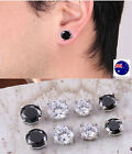 Fake Magnetic Round Crystal Rhinestone Bling No Piercing Ear Hole Studs Earrings