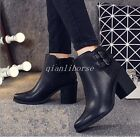 Womens Buckles Side Zip Riding Ankle Boots Pointy Toe Block Mid Heel Party Shoes
