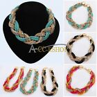 Womens Bohemian Jewelry Pendant Chain Choker Chunky Bib Statement Charm Necklace