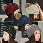 Beauty Womens Girls Winter Warm Knit Crochet Ski Cap Baggy Beanie Beret Ball Hat