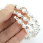 Wedding Bridal Pearl Crystal Rhinestone 3/ 4 Row Stretch Elastic Bangle Bracelet