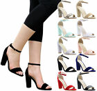 LADIES WOMENS HIGH BLOCK HEEL ANKLE STRAPPY PARTY SANDALS SHOES SIZE 3-8