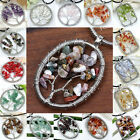 Tree Of Life Copper Wire Wrap Gemstone Chips Pendant Jewelry for Necklace DIY