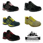 Womens Groundwork Black Pink Steel Toe Cap Work Safety Trainers Shoes Size 3-8