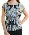 Wet Seal Juniors Silky Black and White Paisley Print Dolman Blouse Top Shirt New