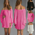 Women Off the Shoulder Chiffon Boho Dress Flare Sleeve Pleated Mini Dress Tunic