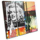 New York Abstract Grunge Vintage TREBLE CANVAS WALL ART Picture Print