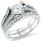 Sterling Silver wedding set CZ Round cut Engagement Ring size 5-10 Bridal New