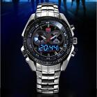 TVG Luxury Blue LED Mens Digital Quartz Wrist Watch Sports Steel + Gift Box L6Y1