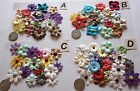 SCRAPBOOKING NO 438 - 16 MIXED PRIMA PAPER FLOWERS & BRADS - 8 PACKS AVAILABLE
