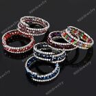 1x Women Faceted Crystal Glass Rhinestone Bead Wrap Cuff Bangle Bracelet Fashion