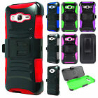For Samsung Galaxy j3 Hybrid Combo Holster KICKSTAND Rubber Case Phone Cover
