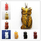 Carved mixed gemstone Owl Pendant Bead DL033