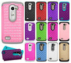 For Cricket LG Risio HYBRID IMPACT Hard Dazzling Diamond Case Phone Cover