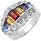 Malaika Sterling Silver 1 4/5ct Multi Stone Ring
