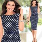 Womens Elegant Pinup Belted Polka Dot Party Wear To Work Evening Shift Dress N4U