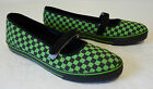 SALE! NEW WOMENS RETRO CHECKER SLIP-ON VELCRO PUMPS TRAINERS FLATS (BLACK/GREEN)