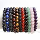8mm Gemstone Lava Rock Stone Healing Round Bead Bangle Bracelet Men Women Gift