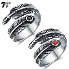 High Quality TT 316L Stainless Steel Feather Cuff Band Ring Size 6-11 (RZ161)