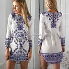Sexy Womens Long Sleeve Mini Dress with Belt Party Casual Irregular Hem Blouse