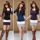 1PC Womens Casual Long Sleeve Bodycon Stripe Cocktail Party Mini Dress Reliable