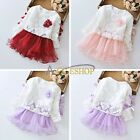 2pcs Baby Girls Lace crochet flower tops + long sleeve dress Girls Clothes Sets
