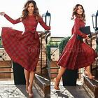 Women A-line Party Dress Plaid Checks Long Sleeve Swing Dress Skater Dress T4O4
