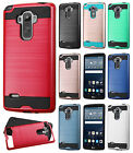 For LG G Stylo Premium Brushed Metal HYBRID Rubber Case Snap Phone Cover